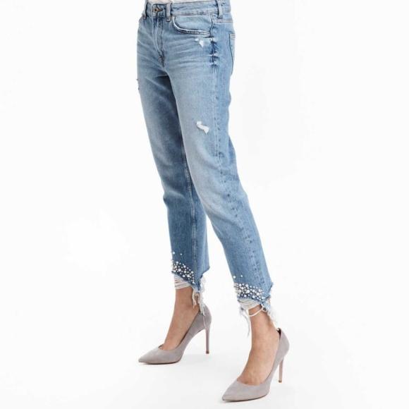 cb54ff981c0 H&M Jeans | Hm Girlfriend Light Denim Blue With Pearls | Poshmark